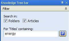 Knowledge Tree Filter Panel