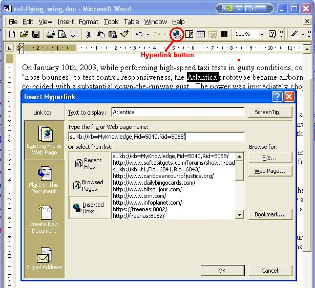 Word Insert Hyperlink dialog