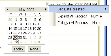 Set Date Created menu and Date Picker