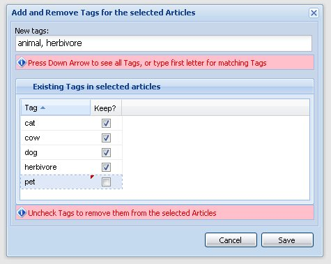 Add and Remove Tags Dialog