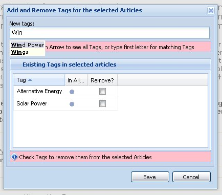 Add/Remove Tags Dialog