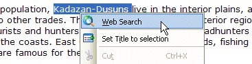 Web Search context menu item