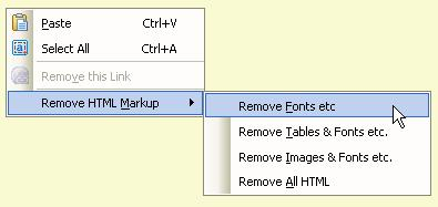 Editing context menu showing Remove HTML Markup.